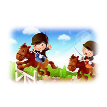 A drawing of horse and rider jumping a fence.