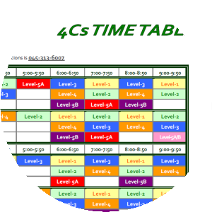 Image of 4Cs' timetable.